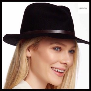 dc29ff8cad658 BLACK WIDE BRIM VEGAN LEATHER BAND FEDORA HAT